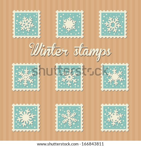 Winter snowflake post stamp set - stock vector