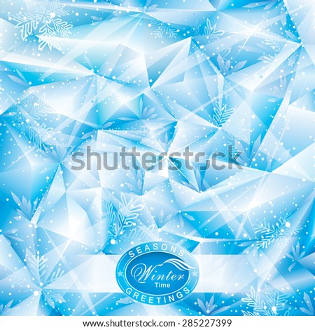 Winter snowflakes abstract Christmas background. - stock vector