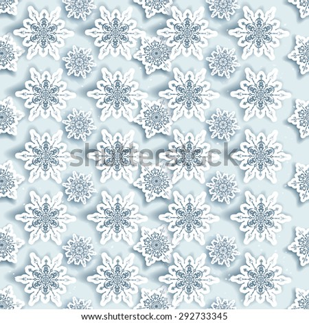 Winter snowflakes seamless background. - stock vector