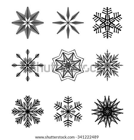 Winter snowflakes vector set - stock vector