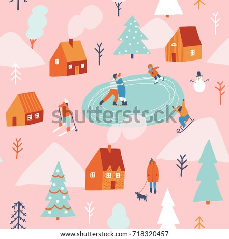 Winter snowing Christmas celebration seamless pattern with people skiing, sledding and ice skating.