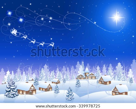 winter snowing village and christmas tree at night, santa claus in sleigh, mountains on the horizon, big moon in the starry sky, vector background - stock vector