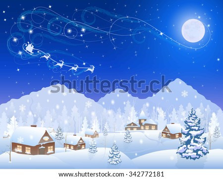 winter snowing village and christmas tree at night, santa claus in sleigh, mountains on the horizon, big moon in the starry sky, vector background