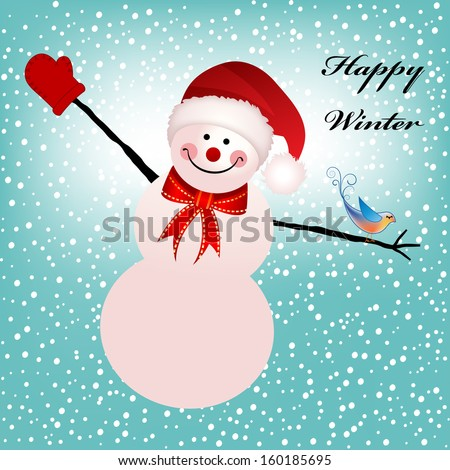 winter snowman - stock vector