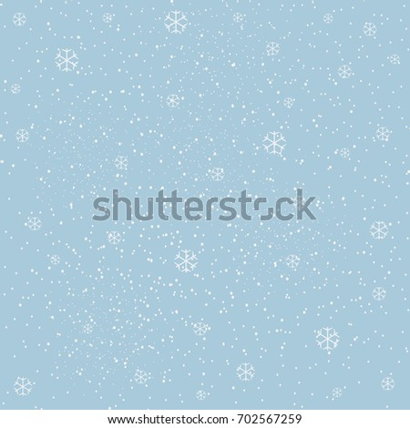 Winter Snowy Background filed with snow and snowflakes. Winter, Merry Christmas collection. Falling Snow. Blue Background. Eps 10