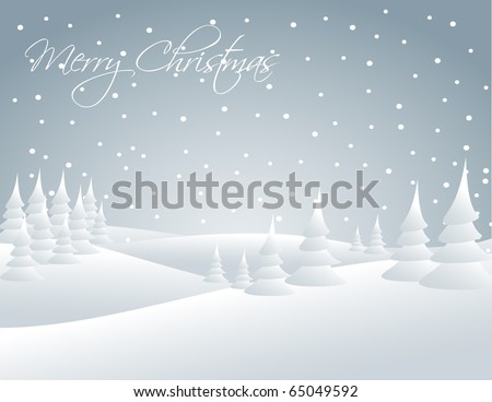 Winter snowy landscape - snow falling on the trees - stock vector