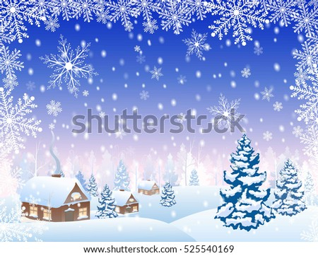 winter snowy village and forest scenery  on horizon, and frame from snowflakes, vector illustration
