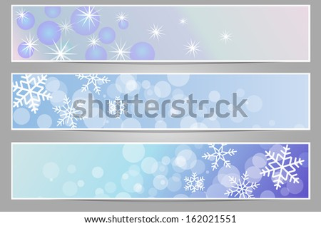 winter sparkling banners with snowflakes new year and Christmas part 2 - stock vector