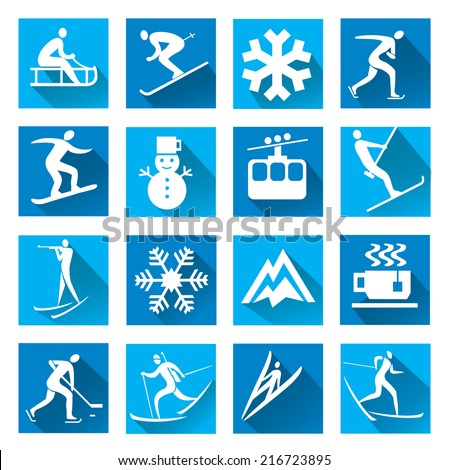 Winter sport blue web icons Set of modern icons with long shadow with winter sport symbols. Vector illustration.  - stock vector