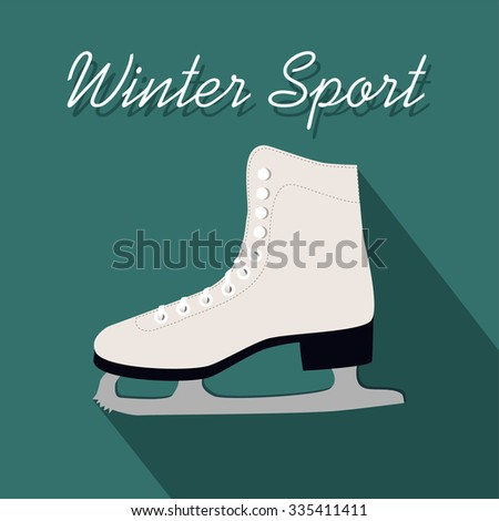 Winter sport card with figure skate