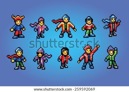 winter sport fans pixel art style avatars, vector isolated