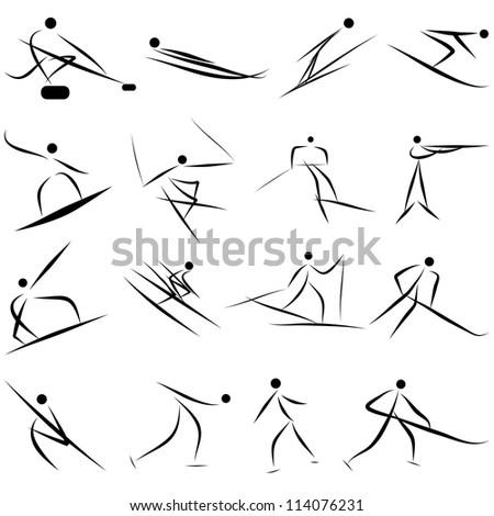 Winter sport games icon set. Vector illustration. - stock vector