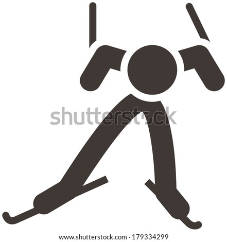 Winter sport icon - Cross-country skiing icon - stock vector