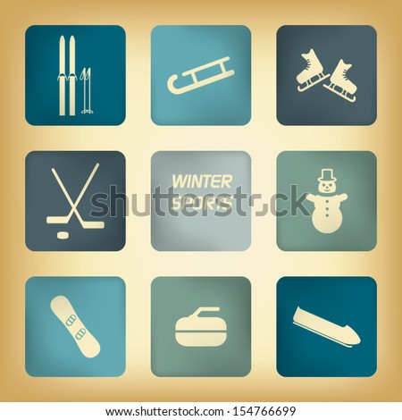 Winter sport pictograms with various winter sports in vintage design - stock vector