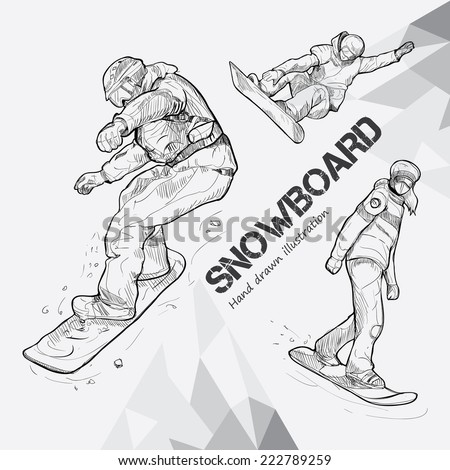 winter sport, snowboarding collection. Hand drawing. - stock vector