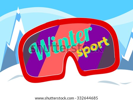 Winter sport vector illustration for holiday design, party poster, greeting card or invitation. Holiday background with mountains. Winter sport. Sport season. Activity sport. Extreme sport.  - stock vector