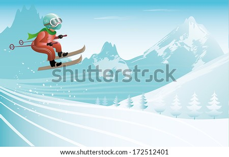 winter sports background - stock vector