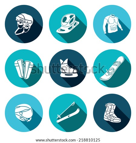 Winter sports flat icon collection - stock vector