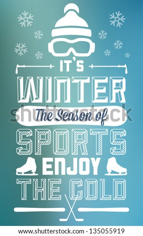 Winter Sports Fun and Entertainment Greeting Card - stock vector