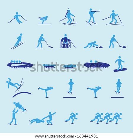 Winter sports icon set - stock vector