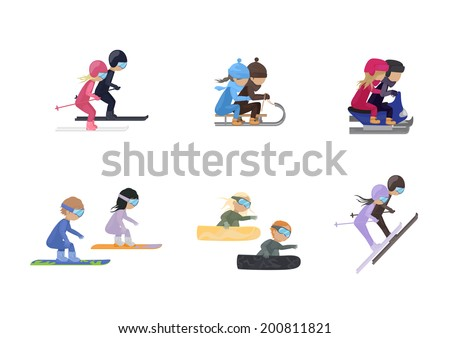 Winter Sports - Isolated On White Background - Vector Illustration, Graphic Design Editable For Your Design  - stock vector