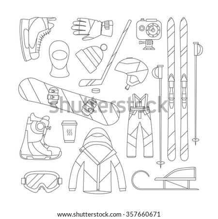 Winter sports objects, equipment collection, vector icons, flat style. Vector illustration.