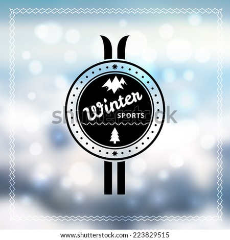 Winter Sports retro badge on abstract blurred snow background. - stock vector