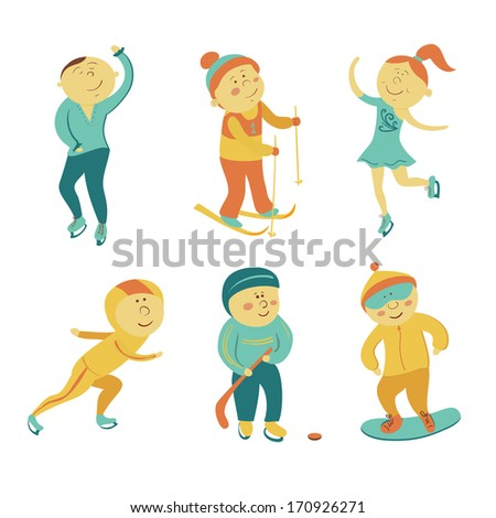 Winter sports set, vector athletes in cartoon style - stock vector