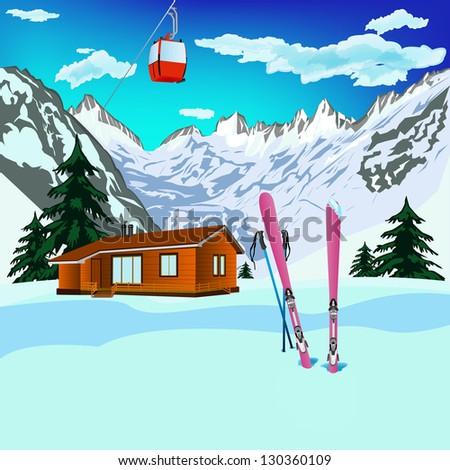 Winter sports ski rest in Alpine resorts.Vector - stock vector