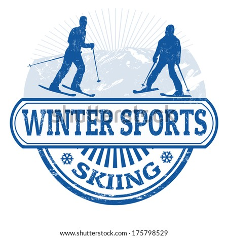 Winter sports skiing grunge rubber stamp on white, vector illustration - stock vector