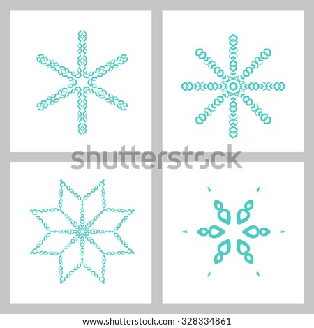 Winter stars and snowflakes for creation of New Year's artistic compositions, postcards, posters, backdrops. - stock vector
