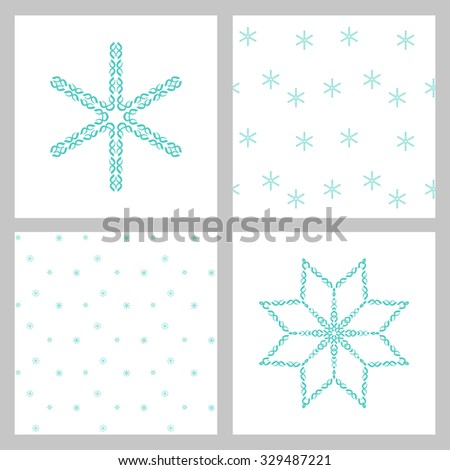 Winter stars and snowflakes for creation of New Year's artistic compositions, postcards, posters, backdrops. Set. - stock vector