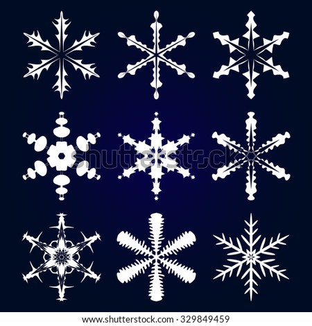 Winter stars and snowflakes for creation of New Year's artistic compositions, postcards, posters, backdrops. Set of 9 items. - stock vector