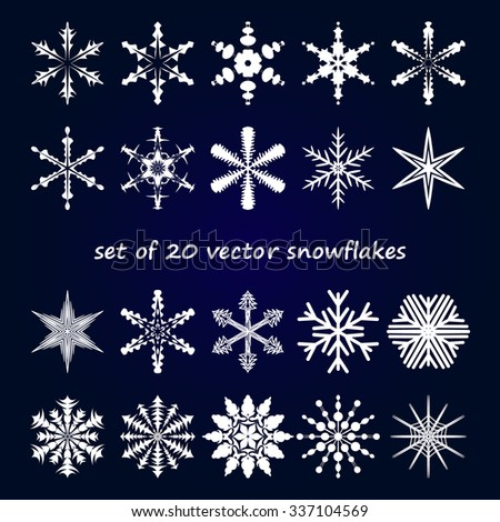 Winter stars and snowflakes for creation of New Year's artistic compositions, postcards, posters, backdrops. Set of 20 items. - stock vector