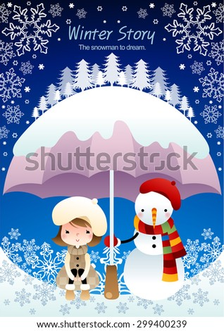 Winter Story - lovely young girl enjoy beautiful snowy frozen ice world with a snowman who holds snow covered purple umbrella on background of bright blue sky with flake pattern : vector illustration - stock vector