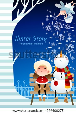 Winter Story - lovely young girl enjoy beautiful snowy frozen ice world with a snowman who look at smiling baby fairy, falling snow on background of blue sky with stripe pattern : illustration - stock vector