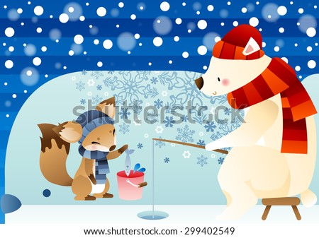 Winter Story - lovely young polar bear sitting in brown chair and fishing with cute little fox on bright blue background of beautiful ice world with stripe and snowflake patterns : illustration - stock vector