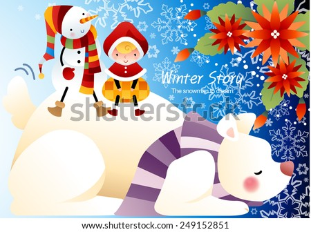 Winter Story with cute little friends and a big animal on blue background with beautiful floral pattern : vector illustration - stock vector