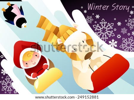 Winter Story with cute little friends and happy smiling animals on dark purple background : vector illustration - stock vector