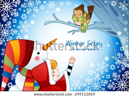 Winter Story with cute little friends on blue background with floral pattern and beautiful ice world : vector illustration - stock vector