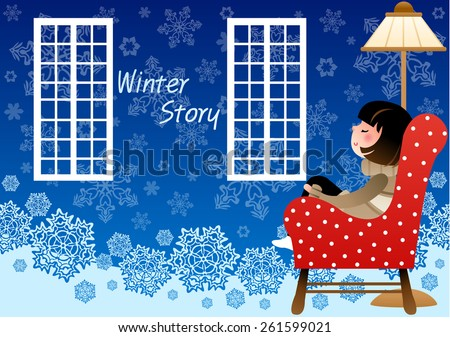 Winter Story with falling snow - a cute relaxed girl sitting on a red sofa and thinking of her romantic white world on bright blue background of beautiful snowflake patterns : vector illustration - stock vector