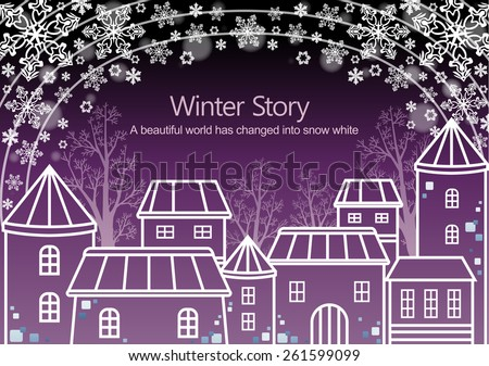 Winter Story with White Snowflake - wonderful snowy landscape with many different houses on bright purple background with arch line and floral pattern : vector illustration - stock vector