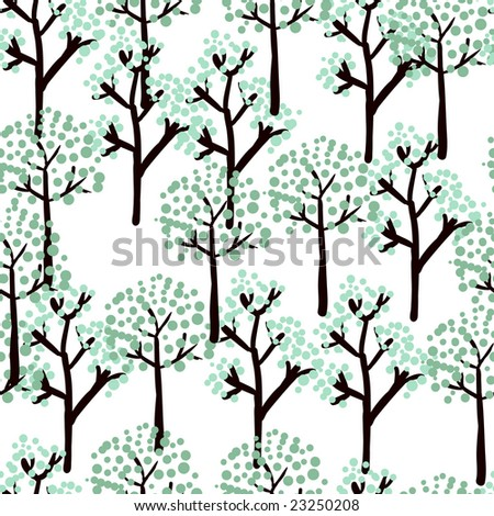 winter stylized tree pattern