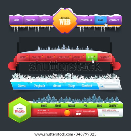 Winter Theme Web Elements Vector Header, Navigation Design Set - stock vector