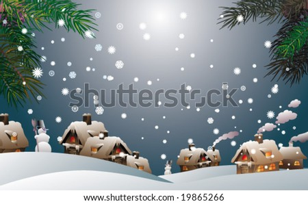 winter time christmas landscape - stock vector