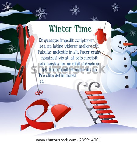 Winter time poster with snowman ski sledge and trees on background vector illustration