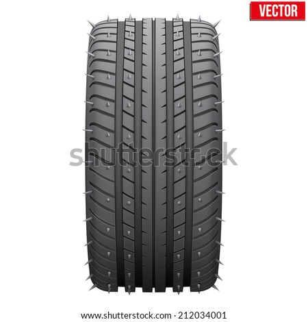 Winter tires with metal spikes. Realistic vector illustration isolated on white background. - stock vector