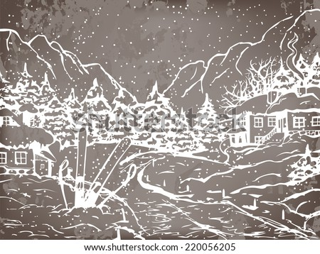 Winter town. Houses and fir trees covered with snow. On the background winter mountains. On the front skis and ski poles stick into the ground. Chalkboard background.