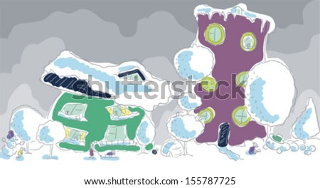Winter town. Two houses. Girl looking at a snowman. A woman carries a child on a sled. Boy clinging snow caterpillar. - stock vector