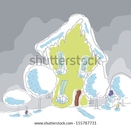 Winter town. Two houses. Girl looking at a snowman.Boy digging snow - stock vector